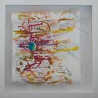 """""""Bulles de joie"""" (Lise SCHIFF) Techniques mixtes papier, fils 30x30cm"""