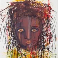 """""""Poussière"""" (Brigitte LION) Encre, acrylique et huile sur carton aquarelle à la cuve 76x56cm"""