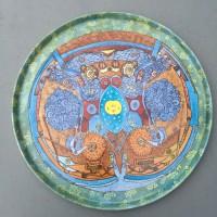 """""""Sans titre"""" (Martine BRAUN) Plateau, interprétation d'une oeuvre sur porcelaine de Peter Faust"""